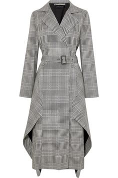 Roland Mouret - Pullman asymmetric belted Prince of Wales checked wool-blend coat - Work Dresses Hijab Fashion, Fashion Dresses, Fashion Coat, Style Fashion, Mode Hijab, Coat Dress, Mode Inspiration, Spring Outfits, Summer Outfit