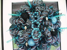 Blue & Black Halloween by WreathsEtc on Etsy, $90.00