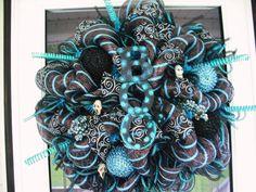 Blue & Black Halloween by WreathsEtc on Etsy
