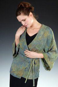Marbled Silk Kimono Top