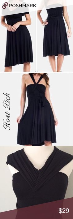NORDSTROM Black multi-way Dress Worn once or twice. From Nordstrom. Can be worn multiple ways. Soft fabric. elan Dresses