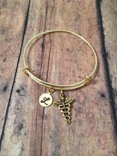 Medical charm bracelet  gold caduceus charm initial by kimsjewelry, $18.00