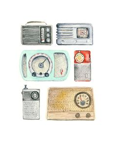 This is an 8 x 10 inch archival quality print of my original watercolor illustrations of a collection of vintage radios. Description: - - - - -