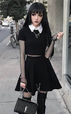 Black nu-goth outfit by kinashen