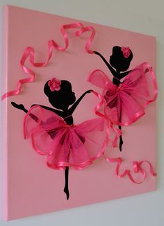 Original Dancing Ballerinas canvas painting decorated with tulle, silk ribbon and crafted rozes. The background and ballerinas are painted with