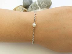 Single Pearl Bracelet 925 Sterling Silver Bridesmaid Gifts Handmade Bracelets, Handmade Gifts, Pearl Bracelet, Bridesmaid Gifts, Pearls, Sterling Silver, Trending Outfits, Unique Jewelry, Etsy