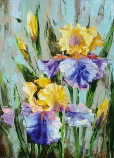 Irises oil on canvas 2001 Iris Painting, Painting Inspiration, Flower Art, Oil On Canvas, Poppies, Abstract Art, Artsy, Gardens, Watercolor