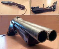 Nerf Sawed off shotgun. Lested, sawed and cusomized for zombie hunting. I'm not fond of the leather I used, looks kinda lame. But I love my wood paint j. Nerf Sawed Shotgun Saw Traps, Buzz Bee Toys, Cyberpunk Rpg, Nerf Mod, Armas Ninja, Homemade Weapons, Double Barrel, Armor Concept, Steampunk Diy