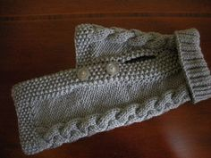 Dog Sweater Basket Weave Button Down Silver by bychancedesigns