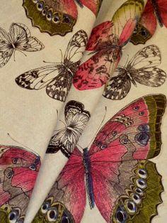 Pattern Butterflies Linen Decorator Fabric in Jewel (Pink Multi) see at http://store.schindlersfabrics.com/pabulidefa.html  heavy multipurpose home decor interior decorating weight  #linen #butterflies #homedecor #bytheyard #interiordecorating