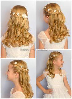 The dress of white elegance - Mädchen Frisuren - Hochzeitsfrisuren-braided wedding updo-Wedding Hairstyles Flower Girl Hairstyles, Little Girl Hairstyles, Braid Hairstyles, Hairstyle Ideas, Female Hairstyles, Short Hairstyles, Communion Hairstyles, White Elegance, Elegance Hair