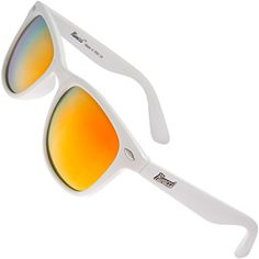 Rivacci Unisexs Wayfarer White Frame  Red  Gold Mirror Lens Medium 49mm Polarized Sunglasses * You can find more details by visiting the image link. (Note:Amazon affiliate link)