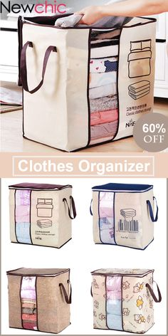 SaicleHome Clothes Quilts Divider Organizer High Capacity Folding Bamboo Bags Bed Under Closet #newchic#newchichome#organizer