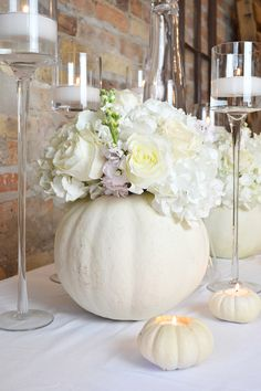 So in love with the white albino pumpkins we used as centerpieces with hydrangea. So in love with the white albino pumpkins we used as centerpieces with hydrangea, roses, and stock. Perfect for a Hallow. Halloween Wedding Centerpieces, Bridal Shower Centerpieces, Thanksgiving Centerpieces, Flower Centerpieces, Flower Arrangements, Wedding Decorations, Centerpiece Ideas, Thanksgiving Games, Wedding Ideas