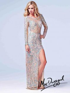 Prom Dress with Sheer Bodice and Sleeves | Mac Duggal 3908A