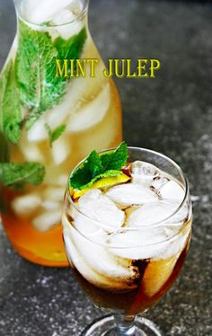 Mint Julep Recipe  Ingredients  2 ounces whiskey/bourbon  crushed ice  1 ounce mint infused simple syrup *see below  mint sprig    Directions: In a tall glass add bourbon, crushed ice, mint-infused simple syrup, and more ice if needed. Stir well and garnish with a mint sprig.  Mint-infused simple syrup: Boil 1 cup sugar and 1 cup of water for 1 minutes. Stir until all the sugar has dissolved and the liquid is clear. Reduce heat to medium and simmer for 5 minutes.
