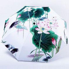 oil painting cat pattern rain/ sun umbrella,3 Folding Thickening Anti UV fashion abstract art design women umbrella