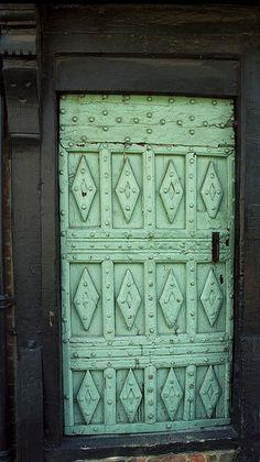 seafoam green door - Colchester, England by Rick Ligthelm Cool Doors, Unique Doors, The Doors, Entrance Doors, Doorway, Windows And Doors, Garage Doors, Knobs And Knockers, Door Knobs