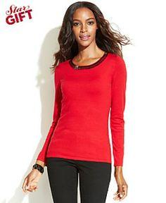 INC International Concepts Long-Sleeve Embellished Sweater