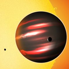 The distant exoplanet TrES-2b, shown here in an artist's conception, is darker than the blackest coal. This Jupiter-sized world reflects less than one percent of the light that falls on it, making it blacker than any planet or moon in our solar system. It is 750 light-years from Earth