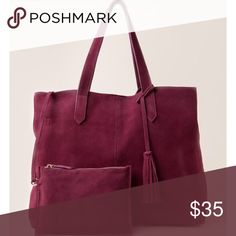 Burgundy Suede Tote Used for about a week with no flaws. Beautiful color but prefer to use other bags I have. Francesca's Collections Bags Totes