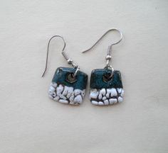 Four Elements Ceramic Earrings  Water by HLsculpture on Etsy, $20.00