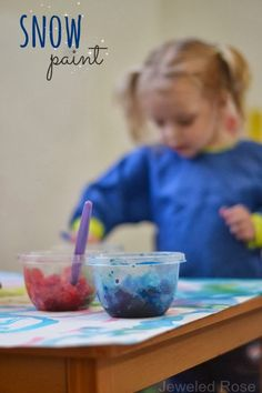 Paint WITH Snow- what a fun activity for the kids and a creative way to play with snow indoors.  {Kids can make these paints from snow themselves, too}