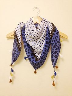 Blue Dotted Triangle fabric shawlPareo top by SpecialFabrics