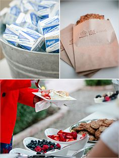 Cookies in bags with a barrel filled with small cartoons of milk and a cheesecake bar subsisted the regular dessert/cake table.