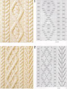 Простые узоры спицами: рис. 1