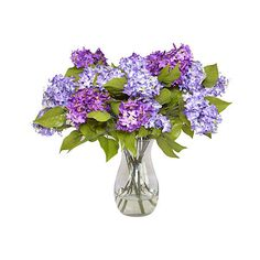 Purple Lilacs in Glass Vase - Faux Arrangements ($149) ❤ liked on Polyvore featuring home, home decor, decorative accessories, purple, glass home decor, purple home decor, purple home accessories and floral home decor