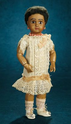 Forever Young - Marquis Antique Doll Auction: 199 French Amber-Brown Complexioned Bisque Bebe, Original Signed Body, Chemise Dress