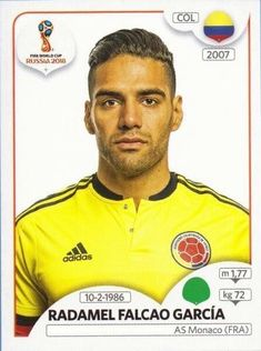Radamel Falcao Garcia - Colombia - FIFA World Cup Russia 2018 sticker 646 As Monaco, Colombia Football Team, Premier League, James Rodriguez Colombia, Time Do Brasil, Soccer Cards, World Cup Russia 2018, America's Cup, Iker Casillas