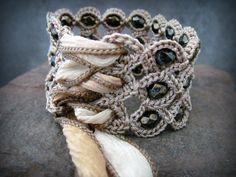 Gypsy Corset Cuff Bracelet with Earthy Picasso Bronze Beads, Crochet Jewelry