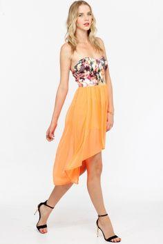 Floral High Low Chiffon Dress