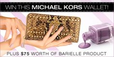 I just entered Barielle's sweepstakes for a chance to win a Michael Kors wallet plus $75 worth of Barielle products.