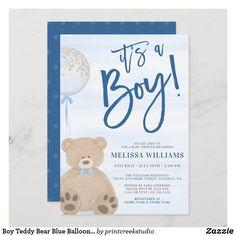Boy Teddy Bear Blue Balloon Baby Shower Invitation Baby Shower Niño, Teddy Bear Baby Shower, Baby Shower Balloons, Baby Shower Themes, Shower Ideas, Girl Shower, Invitaciones Baby Shower Niña, Blue Balloons, Birthday Thank You