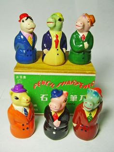 FOR SALE ! 6 horses in suits and hats VINTAGE Chinese CHALKWARE clay CERAMIC figural PENCIL SHARPENERS ! http://www.ebay.com/sch/mypinkturtle/m.html?_ipg=50&_sop=12&_rdc=1