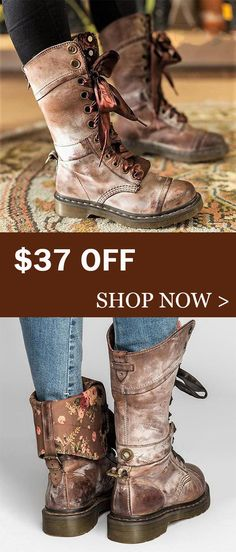 61aadc7a8bc42 Hot Sale!Womens Vintage Chunky Heel Lace-up Leather Daily Boots Cute Shoes