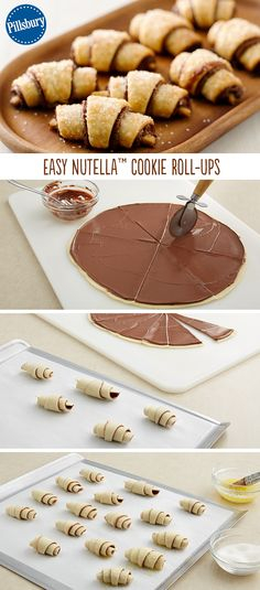 Nutella cookie roll ups - These surprisingly simple four-ingredient beauties made with pie crust will be a hit anywhere you serve them. Simply spread Nutella on pie crust and roll up into perfection. Delicious Desserts, Dessert Recipes, Yummy Food, Tasty, Easy Desserts, Party Food Recipes, Finger Desserts, Dessert Dips, Dessert Bread