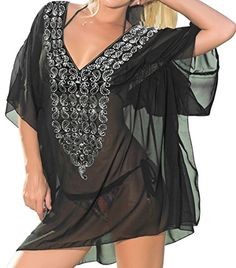 La Leela Sheer Chiffon Sequin Embroidered Swim Cover up White,Large. Do YOU want COVER UPS in other colors Like Red | Pink | Orange | Violet | Purple | Yellow | Green | Turquoise | Blue | Teal | Black | Grey | White | Maroon | Brown | Mustard | Navy ,Please click on BRAND NAME LA LEELA above TITLE OR Search for LA LEELA in Search Bar of Amazon. STRETCHABLE Elastic gives YOU an ADJUSTABLE and COMFORTABLE Fit. US SIZE : From Regular 14 (L) TO Plus Size 16W (1X = XXL) ➤ UK SIZE : FROM REGULAR…