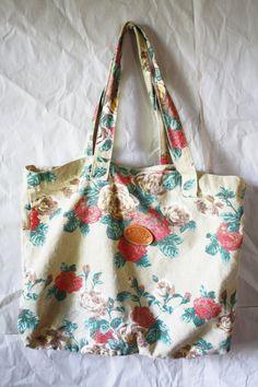 "Vintage canvas market style purse ""Flowers""- gitano"