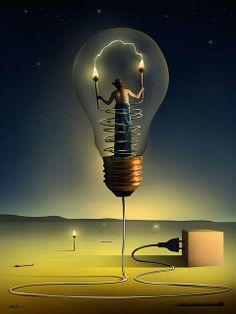 Surreal by Marcel Caram Surrealism Painting, Pop Surrealism, Surreal Photos, Surreal Art, Photomontage, Marcel, Light Bulb Art, Mode Poster, Art Sculpture