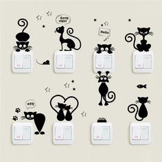 Cheap Wall Stickers, Buy Directly from China Suppliers:Lovely Cat Light Switch Phone Wall Stickers For Kids Rooms Diy Home Decoration Cartoon Animals Wall Decals Pvc Mural Art Cheap Wall Stickers, Wall Stickers Home Decor, Cat Stickers, Vinyl Decor, Wall Vinyl, Sticker Vinyl, Mural Art, Wall Art
