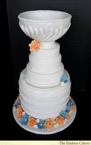 This is actually a wedding cake for a hockey loving couple. The bride wanted to add some sophistication to their Stanley Cup Wedding Cake so sugar flowers Hockey Stanley Cup, Stanley Cup Playoffs, Wedding Cupcakes, Wedding Cake, Geek Wedding, Wedding Ideas, Stanley Cup Cakes, Stanley Cup Costume, Hockey Wedding