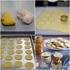 Alfajores, Chilean Recipe are a traditional sweet in Chile, filled with dulce de leche or Huevo Mol. Latin American Food, Latin Food, Sweet Cookies, Sweet Treats, Chilean Recipes, Chilean Food, Lunch Box Recipes, Pastry Cake, Cookies And Cream