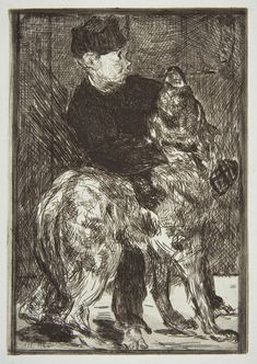 Édouard Manet - 1862 Boy and Dog etching and aquatint on blue laid paper from the Strölin edition of 1
