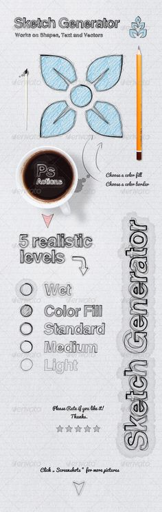 Sketch Generator Photoshop Action. Turn any vector/text layout into a sketch. $4