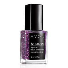 All that glitters! Create an over-the-top dazzling accent nail or fabulous French Tip. Can be worn alone or over your favorite Avon nail polish.BENEFITS• Gives nails a dazzling sparkle.• Use to create an accent nail • Glittery Top Coat for a dazzling look• Made in USA• Available in 5 dazzling colorsTO USE• Apply by itself or over a nail polish