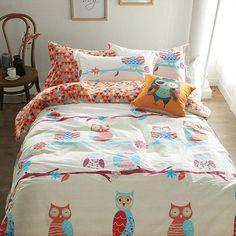 Owl Cartoon Kids Bedding Sets